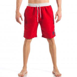 Costum de baie de bărbați roșu cu banda albastră laterală