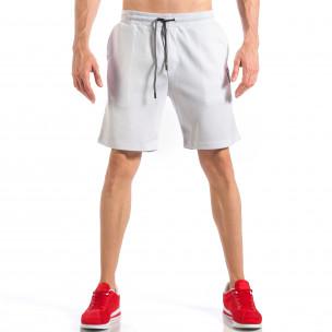 Pantaloni scurți de bărbați albi cu aplicație la crac 2