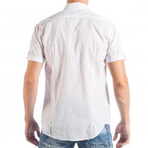 Cămașă cu mânecă scurtă de bărbați albă cu patch-uri 2
