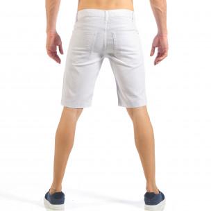 Blugi scurți de bărbați albi cu patch-uri cu imprimeu Desierto 2