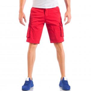 Pantaloni scurți de bărbați roșii cu buzunare cargo 2