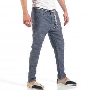 Pantaloni de bărbați albaștri cu șiret la talie  2
