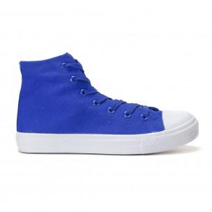 Teniși înalți albaștri cu talpă albă pentru bărbați  2