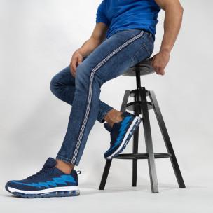 Blugi de bărbați Cropped albaștri cu benzi Slim fit