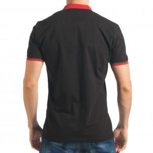 Tricou cu guler bărbați Black Island negru 2