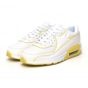 Pantofi sport de dama cu pernă de aer în alb și galben Jomix 2