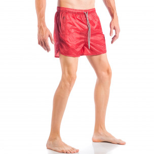 Costum de baie pentru bărbați roșu model simplu  2