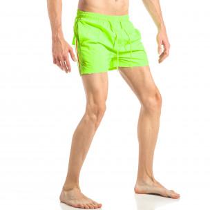 Costum de baie pentru bărbați verde neon cu banda în trei culori 2