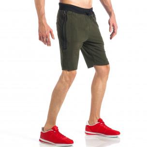 Pantaloni scurți de bărbați verzi cu fermoar la crac  2