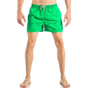 Costum de baie pentru bărbați verde cu rechini