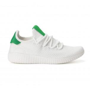 Adidași de bărbați în alb-verde cu talpa ușoara Kiss GoGo