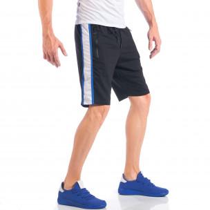 Pantaloni scurți de bărbați negri cu benzi și fermoare la buzunare 2