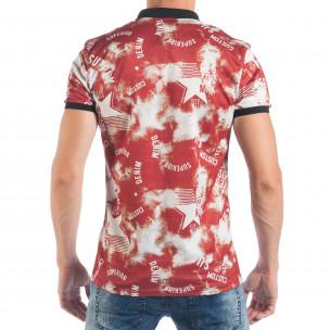 Tricou cu guler pentru bărbați cu imprimeu stele  2