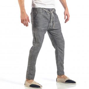 Pantaloni de bărbați gri cu șiret la talie  2