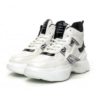 Pantofi sport înalți de dama cu detalii lăcuite 2