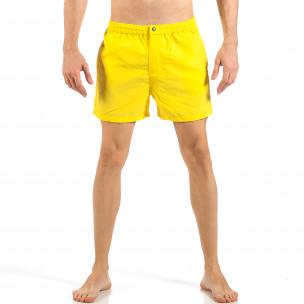 Costum de baie de bărbați galben cu fermoar și nasture