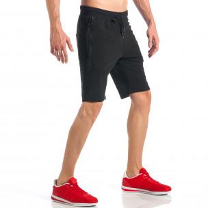 Pantaloni scurți de bărbați negri cu fermoar la crac 2