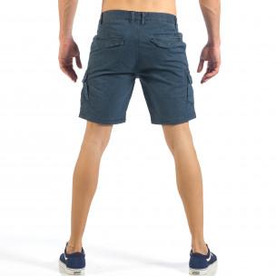 Pantaloni cargo scurți de bărbați albaștri cu imprimare mica 2