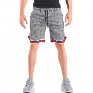 Pantaloni scurți de bărbați în carouri alb-negru cu manșete în 2 culori  2