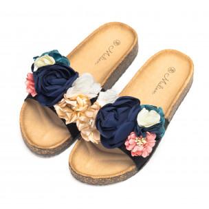 Papuci de dama negri cu flori 2