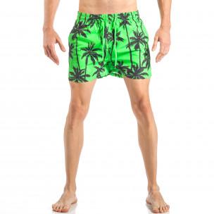Costum de baie de bărbați verde cu imprimeu palm