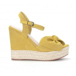 Sandale de dama galbene cu platforma