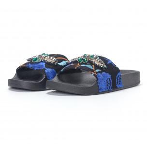 Papuci de dama albaștri cu broderii și pietre 2