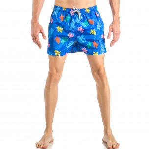 Costum de baie de bărbați albastru cu broaște țestoase colorate