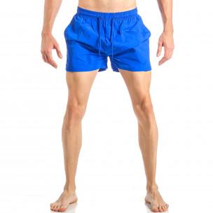 Costum de baie pentru bărbați albastru cu banda în trei culori