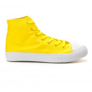 Teniși înalți galbeni cu talpă albă pentru bărbați  2