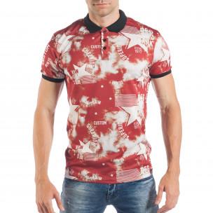 Tricou cu guler pentru bărbați cu imprimeu stele