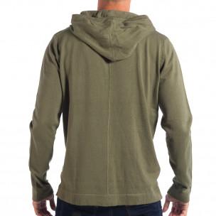 Pulover în verde RESERVED pentru bărbați model ușor cu glugă 2