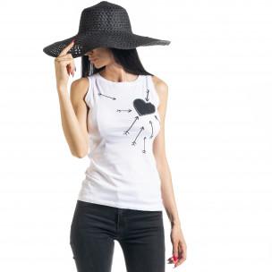 Bluză de dama albă fără mâneci