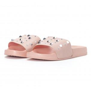 Papuci de dama roz cu pietre și ținte 2