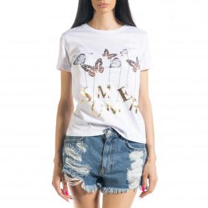 Tricou alb de dama Summer Butterfly