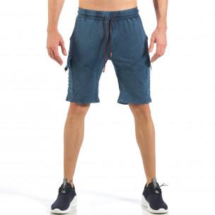 Pantaloni scurți de bărbați cu buzunare cargo în culoarea denim