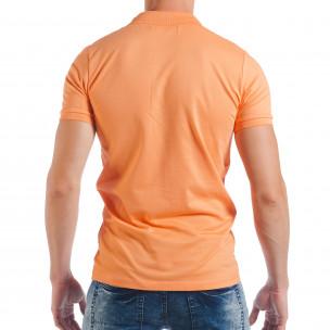 Tricou portocaliu Pique cu guler pentru bărbați  2