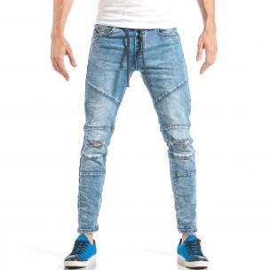 Blugi pentru bărbați albaștri cu elastic