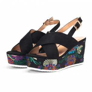Sandale de dama negre cu platforma din jacard 2