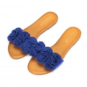 Papuci de dama albaștri cu efect de floare 2