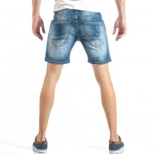 Blugi scurți de bărbați albaștri cu cusătură decorativă 2