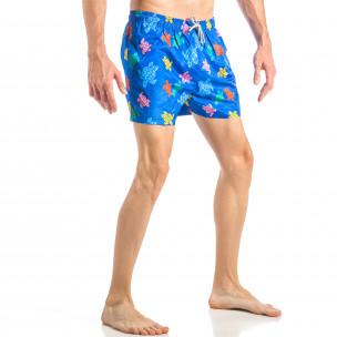 Costum de baie de bărbați albastru cu broaște țestoase colorate  2