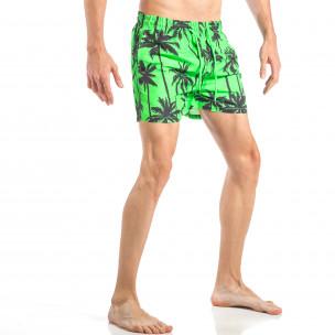 Costum de baie de bărbați verde cu imprimeu palm 2