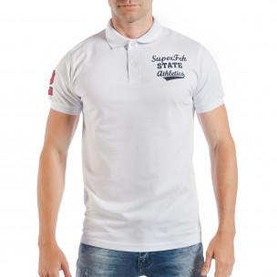 Tricou alb de bărbați Pique cu număr 2