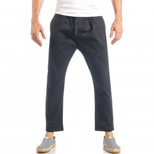 Pantaloni pentru bărbați negri cu talie elastica