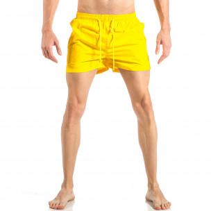 Costum de baie pentru bărbați galben cu banda în trei culori