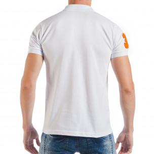 Tricou tip Polo shirt alb de bărbați cu număr 32  2