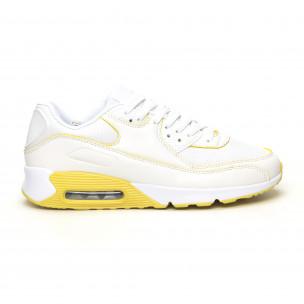 Pantofi sport de dama cu pernă de aer în alb și galben Jomix