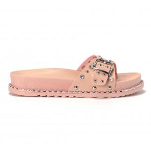 Papuci de dama roz cu pietre și ținte