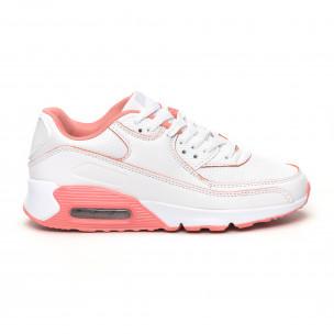 Pantofi sport de dama cu pernă de aer în alb și roz
